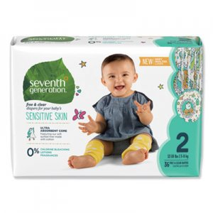 Seventh Generation Free and Clear Baby Diapers, Size 2, 12 lbs to 18 lbs, 144/Carton SEV44061 44061
