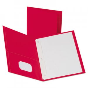 "Oxford Leatherette Two Pocket Portfolio, 8 1/2"" x 11"", Red, 135 Sheets,10/PK OXF57781 57781"