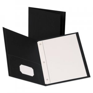 "Oxford Leatherette Two Pocket Portfolio with Fasteners, 8 1/2"" x 11"", Black, 10/PK OXF57776 57776"
