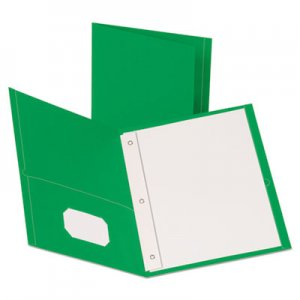 "Oxford Leatherette Two Pocket Portfolio with Fasteners, 8 1/2"" x 11"", Green, 10/PK OXF57773EE 57773EE"