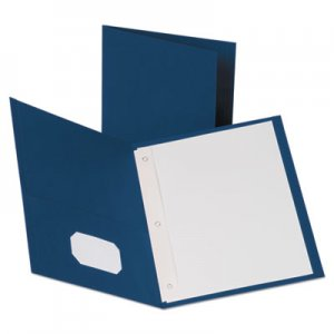 "Oxford Leatherette Two Pocket Portfolio with Fasteners, 8 1/2"" x 11"", Blue, 10/PK OXF57772 57772"
