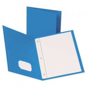 "Oxford Leatherette Two Pocket Portfolio with Fasteners, 8 1/2"" x 11"", Light Blue, 10/PK OXF57771 57771"