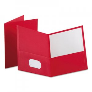 "Oxford Leatherette Two Pocket Portfolio, 8 1/2"" x 11"", Red, 100 Sheets,10/PK OXF57581EE 57581EE"