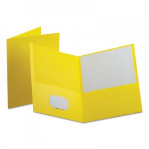"Oxford Leatherette Two Pocket Portfolio, 8 1/2"" x 11"", Yellow, 10/PK OXF57579EE 57579EE"