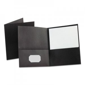"Oxford Leatherette Two Pocket Portfolio, 8 1/2"" x 11"", Black, 10/PK OXF57576 57576"