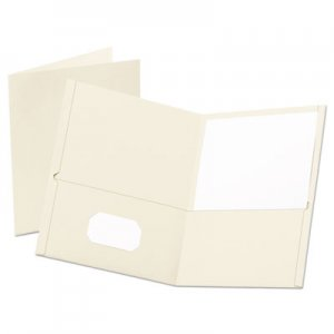 "Oxford Leatherette Two Pocket Portfolio, 8 1/2"" x 11"", White, 10/PK OXF57574EE 57574EE"