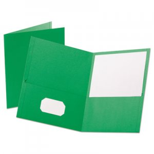 "Oxford Leatherette Two Pocket Portfolio, 8 1/2"" x 11"", Green, 10/PK OXF57573 57573"