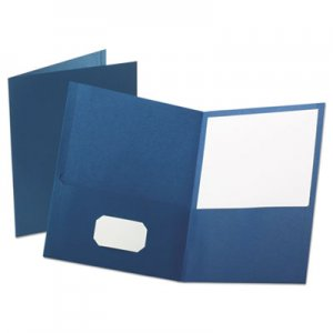 "Oxford Leatherette Two Pocket Portfolio, 8 1/2"" x 11"", Blue, 10/PK OXF57572 57572"