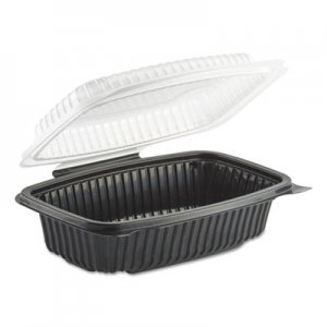Anchor Packaging Culinary Classics Microwavable Container, 34 oz, Clear/Black, 100/Carton ANZ4656911 4656911