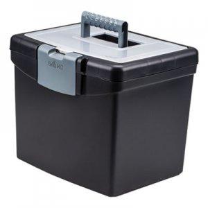 Storex Portable File Box with Large Organizer Lid, 13 1/4 x 10 7/8 x 11, Black STX61504U01C 61504U01C