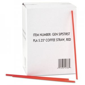 "GEN Coffee Stirrers, Red/White, Plastic, 5 1/4"", 1000/Box, 10 Boxes/Carton GENSIPSTIRST 705851"