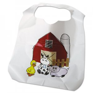 Atlantis Plastics Disposable Child-Size Poly Bibs, Zoo/Farm Pattern, Children's, 250/Carton ATL2BBCZF ATL 2BBCZF
