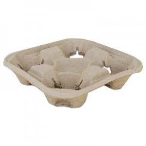 SCT Molded Fiber Drink Carriers, 8-32oz Cups, 4-Cup Tray, 9 1/4x9 1/4x2 1/4, 300/CT
