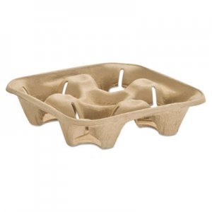 Chinet StrongHolder Molded Fiber Cup Tray, 8-32oz, Four Cups, 150/Pack, 2 Packs/Carton HUH20938 20938