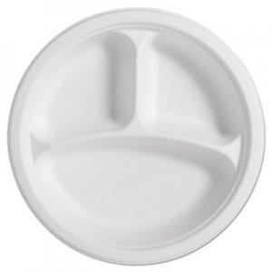 """Chinet PaperPro Naturals Fiber Round Plates, 3-Comp, 10 1/4"""", Natural, 125/PK, 4 PK/CT HUH25777CT 25777"""