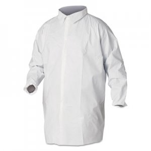 KleenGuard A40 Liquid and Particle Protection Lab Coats, 2X-Large, White, 30/Carton KCC44445 KCC 44445