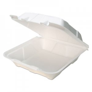 Pactiv Foam Hinged Lid Containers, White, 9 x 9 x 3.5, 150/Carton PCTYTD19901 YTD199010000