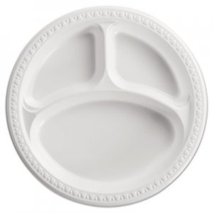 "Chinet Heavyweight Plastic 3 Compartment Plates, 10 1/4"" Dia, White, 125/PK, 4 PK/CT HUH81230 81230"