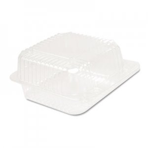 Dart Staylock Clear Hinged Container, Plastic 5 3/10x5 3/5x2 4/5 Clear 125/BG 4 BG/CT DCCC20UT1