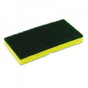 Continental Medium-Duty Sponge N' Scrubber, 3 3/8 x 6 1/4, Yellow/Green, 3/PK, 8 PK/CT