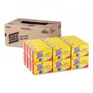 S.O.S Steel Wool Soap Pad, 4/Box, 24 Boxes/Carton CLO98041 98041