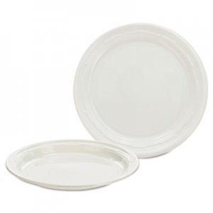Dart Plastic Plates, 7 Inches, White, Round, 125/Pack, 8 Packs/Carton DCC7PWF 7PWF