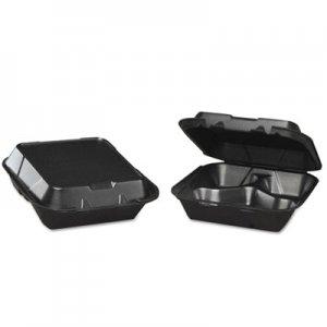 Genpak Snap-It Foam Hinged Carryout Container, 3-Comp, Black, 8-1/4x8x3,100/BG, 2 BG/CT GNPSN2433L SN243