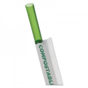 "Eco-Products Wrapped Straw, 7.75"", Green, 9600/Carton ECOEPST772 EP-ST772"