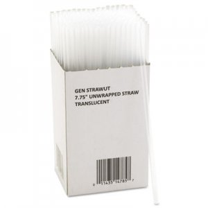 "GEN Unwrapped Jumbo Straws, 7 3/4"", Translucent, 225/Pack, 50 Packs/Carton GENSTRAWUT 705896"
