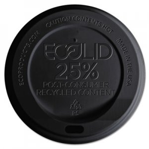 Eco-Products EcoLid 25% Recy Content Hot Cup Lid, Black, F/10-20oz, 100/PK, 10 PK/CT ECOEPHL16BR EP