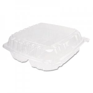 Dart ClearSeal Plastic Hinged Container, 3-Comp, 9 x 9-1/2 x 3, 100/Bag, 2 Bags/CT DCCC95PST3