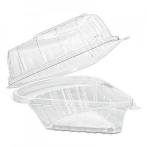 Dart Showtime Clear Hinged Containers, Pie Wedge, 6 2/3 oz, Plastic, 125/PK, 2 PK/CT DCCC54HT1 C54HT1