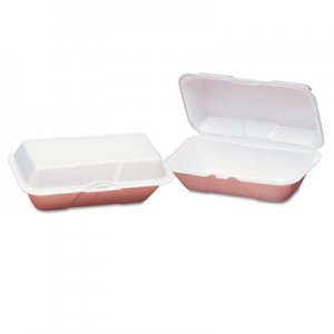 Genpak Foam Hoagie Hinged Container, Large, White, 9-1/2x5-1/4x3-1/2, 100/Bag GNP21900 21900---