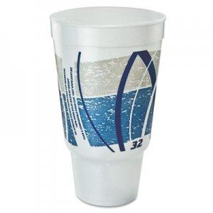 Dart Impulse Hot/Cold Foam Drinking Cup, 32 oz, Flush Fill, Pedestal Base, White/Blue/Gray, 16/Bag, 25 Bags