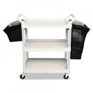 Rubbermaid Commercial Xtra Utility Cart, 300-lb Cap, Three-Shelves, 20w x 40-5/8d x 37-4/5h, Gray