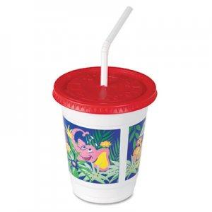 Dart Plastic Kids' Cups with Lids/Straws, 12 oz, Jungle Print SCCCC12CJ5145 CC12C-J5145
