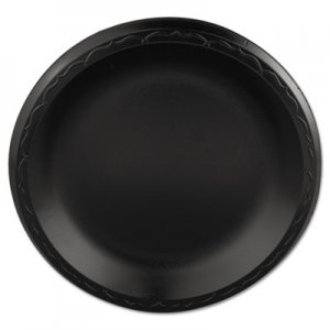 Genpak Elite Laminated Foam Plates, 8.88 Inches, Black, Round, 125/Pack, 4 Pack/Carton GNPLAM093L LAM09---3L