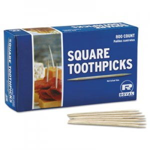 "AmerCareRoyal Square Wood Toothpicks, 2 3/4"", Natural, 800/Box, 24 Boxes/Carton RPPR820SQ R820SQ"