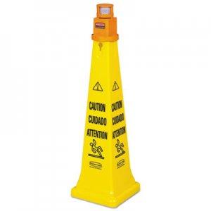 Rubbermaid Portable Barricade System, Plastic, 12 1/4 x 12 1/4 x 39 3/4, Yellow RCP628700YW FG628700YEL