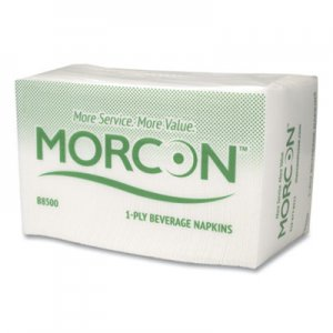 Morcon Paper Beverage Napkin, 9 x 9-1/4, White, 500/Pack, 8 Packs/Carton MORB8500 MOR B8500