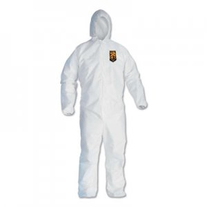 KleenGuard A40 Elastic-Cuff and Ankle Hooded Coveralls, 4X-Large, White, 25/Carton KCC44327 KCC 44327
