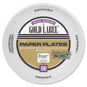 AJM Coated Paper Plates, 9 Inches, White, Round, 100/Pack AJMCP9GOAWH AJM CP9GOAWH