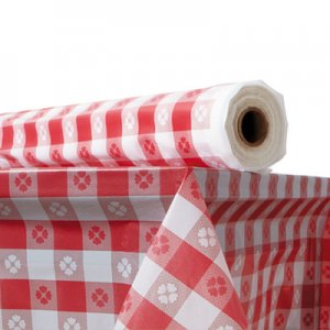 "Atlantis Plastics Plastic Table Cover, 40"" x 300 ft Roll, Red Gingham ATL2TCR300GIN 1504100"