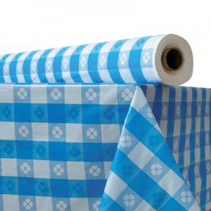 "Atlantis Plastics Plastic Table Cover, 40"" x 300 ft Roll, Blue Gingham ATL2TCB300GIN 1503986"