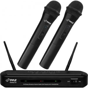 Pyle FM Wireless Microphone Receiver System Dual Frequency with 2 Handheld Mics PDWM2130