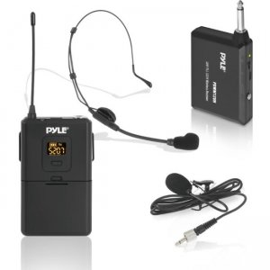 Pyle Wireless Microphone System, Beltpack Transmitter with Headset & Lavalier Mics PDWM12UH