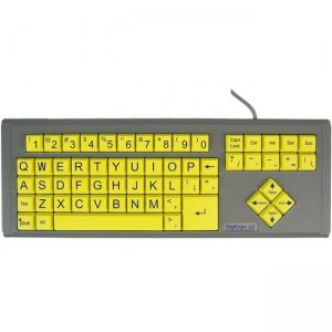 AbleNet BigKeys LX - QWERTY Wired Keyboard Black Print on 1-in/2.5-cm Large Yellow Keys 12000012