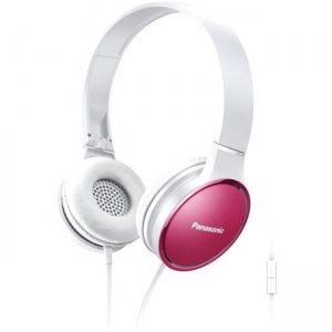 Panasonic Lightweight On-Ear Headphones with Mic and Controller - Pink RP-HF300M-P