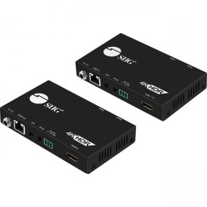SIIG 4K HDR HDMI 2.0 HDBaseT Extender Over Single Cat5e/6 with RS-232 & IR - 60m CE-H23211-S1