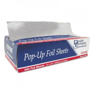 "Durable Packaging Pop-Up Aluminum Foil Sheets, 12"" x 10 3/4"", 500/Box, 6 Boxes/Carton DPK12105 12105"